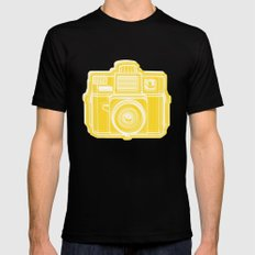 I Still Shoot Film Holga Logo - Sunshine Yellow SMALL Black Mens Fitted Tee
