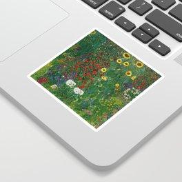 Gustav Klimt - Farm Garden With Flowers Sticker