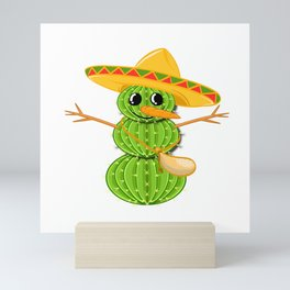 A Cute Greeny Cactus Plant Tee For You With Illustration Of A Cactus Scarecrow T-shirt Design Hat Mini Art Print