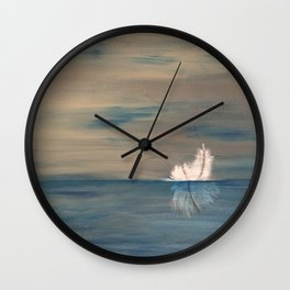 Floating Feather. Abstract Painting by Jodi Tomer. Abstract Feather on Water. Wall Clock