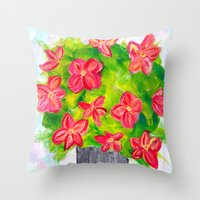 Pewter Vase with Orange Flowers Throw Pillow