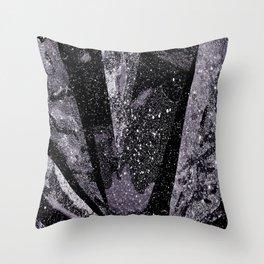 Glitter Silver Star Gaze Black White Retro Vintage Throw Pillow