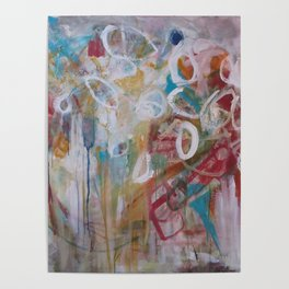 Playing in the Garden - Abstract Modern Contemporary Flowers Poster