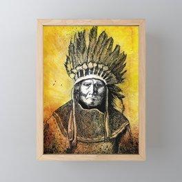 Warm Color Portrait of Geronimo in Headdress Framed Mini Art Print