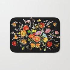 Black Butterfly Bouquet  Bath Mat