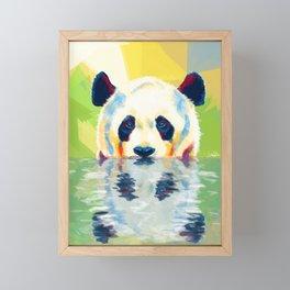 Panda taking a bath Framed Mini Art Print
