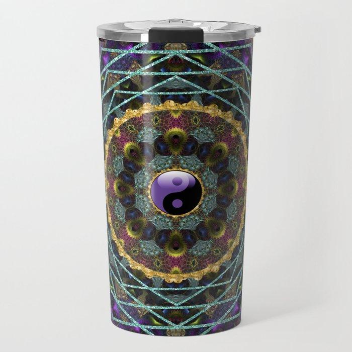 Purple Yin Yang Sacred Geometry Fractals Travel Mug