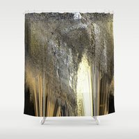 champagne Shower Curtains featuring champagne by Maria Julia Bastias