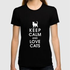 Keep Calm and Love Cats Womens Fitted Tee Black LARGE