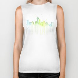 Seattle Skyline Watercolor Space Needle Painting Biker Tank