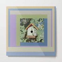 Birdhouse in barnwood, blue sage green taupe Metal Print