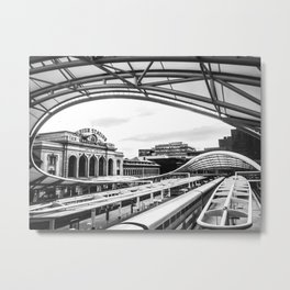 Union Station // Train Travel Downtown Denver Colorado Black and White City Photography Metal Print