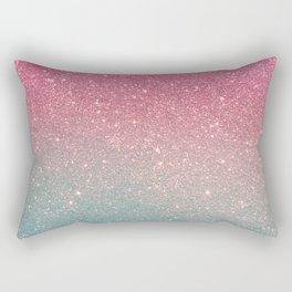 Modern neon pink teal faux glitter ombre patern Rectangular Pillow