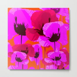 Pink And Red Poppies On A Orange Background - Summer Juicy Color Palette - Retro Mood Metal Print