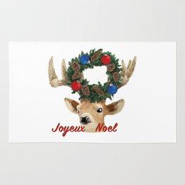 Joyeux noel - French Merry Christmas deer Rug