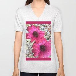 Garden Blooms - Pink  Unisex V-Neck