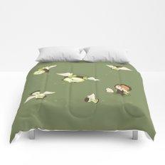Girl Watching Time Flies Comforters