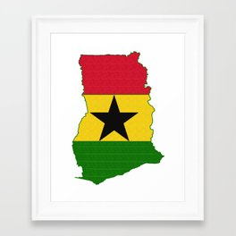 Ghana Map with Ghanian Flag Framed Art Print