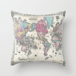 1852 J.H. Colton Map of the World Throw Pillow