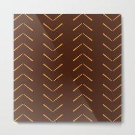Dark And Light Brown Big Arrows Mud cloth Metal Print