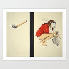 Masked Woman. Big Axe. Closed Casket. Art Print