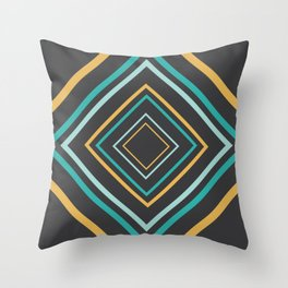 Midcentury Modern Diamonds Turquoise and Gold Throw Pillow