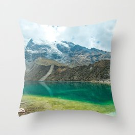 Still Waters | Blue Lake Among Snowy Mountains Nature Landscape Photography in Peru Throw Pillow