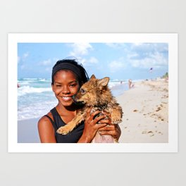 A Girl and Her Puppy on Varadero Beach Art Print