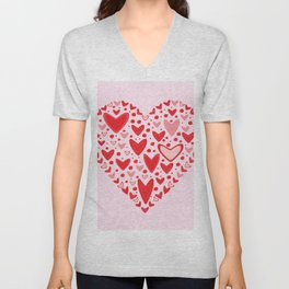 Love concept of hearts in the shape of a heart Unisex V-Neck