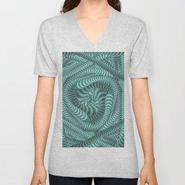 Mint green stripe illusion design Unisex V-Neck