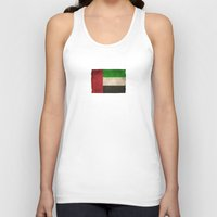 arab Tank Tops featuring Old and Worn Distressed Vintage Flag of United Arab Emirates by Jeff Bartels