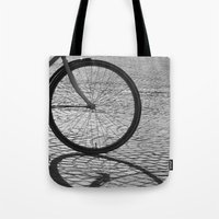 bicycle Tote Bags featuring bicycle by habish