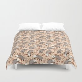 Opossum and Roses Duvet Cover