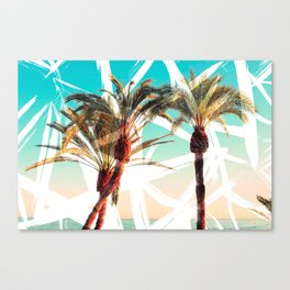 Modern summer tropical palm trees seascape photography white abstract geometric brushstrokes paint Canvas Print