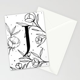 Black Letter J Monogram / Initial Botanical Illustration Stationery Cards