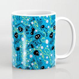 Skeletons in Spring - pacific blue - black Coffee Mug
