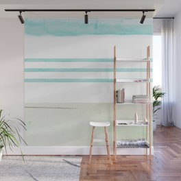 nautical stripes: aqua & sand Wall Mural