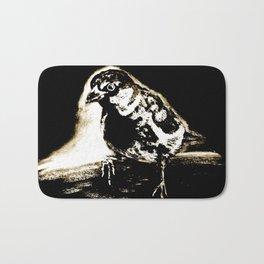 Black and White Sparrow Bath Mat