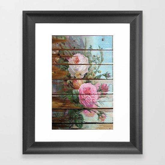 recycled art- rose wood Framed Art Print
