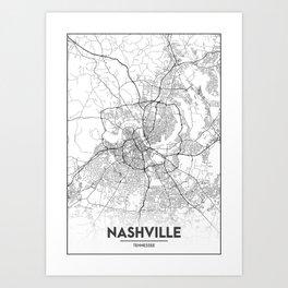 Minimal City Maps - Map Of Nashville, Tennessee, United States Art Print
