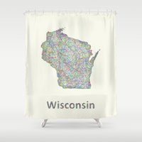 wisconsin Shower Curtains featuring Wisconsin map by David Zydd