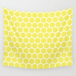 Summery Happy Yellow Honeycomb Pattern - MIX & MATCH Wall Tapestry