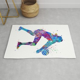 Volleyball Girl Watercolor Art Print Sports Art Home Decor Birthday Gift Painting Rug