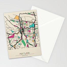 Colorful City Maps: Portland, Oregon Stationery Cards