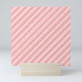 Classic Blush Pink Glossy Candy Cane Stripes Mini Art Print