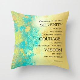 Serenity Prayer Blue Gold Flowers Throw Pillow