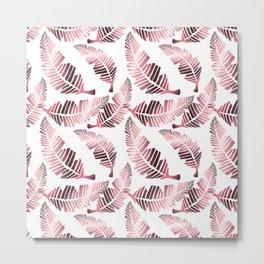 Modern mauve pink tropical summer leaves pattern Metal Print