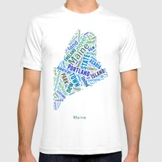 Word Cloud - Maine Mens Fitted Tee SMALL White