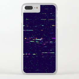 Grunge glitchy texture with tv screens Clear iPhone Case
