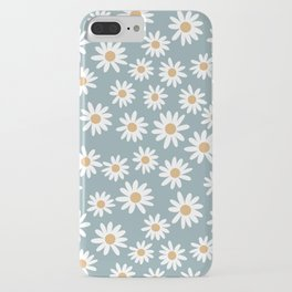Daisies - daisy floral repeat, daisy flowers, 70s, retro, black, daisy florals dusty blue iPhone Case
